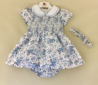BABY GIRLS TRADITIONAL SMOCKED DRESS OUTFIT BLUE GREY FLORAL